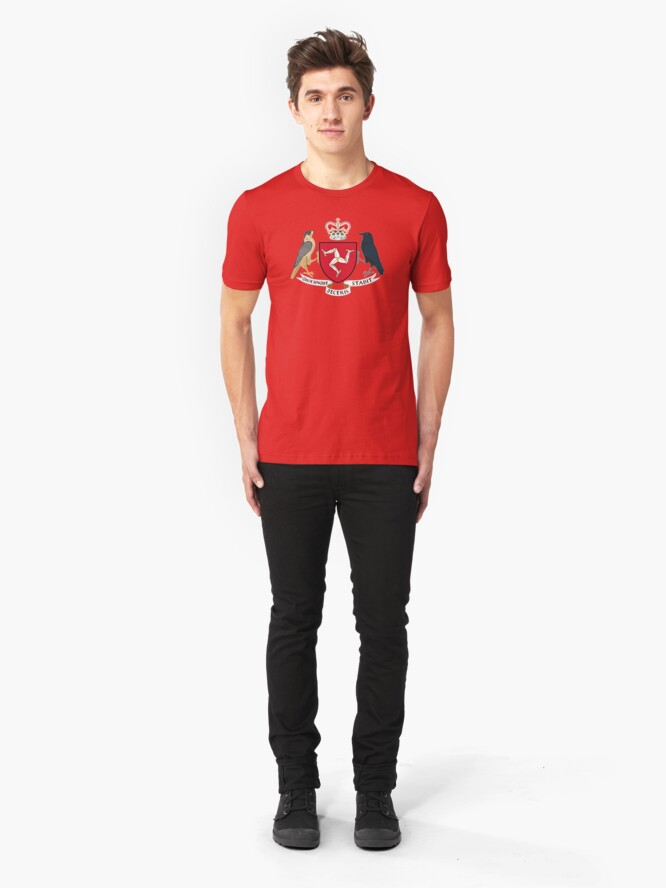 Alternate view of Isle Of Man Flag 3 Legs Of Man Manx Coat Of Arms Celtic Triskelion Slim Fit T-Shirt