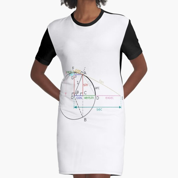 All of the trigonometric functions of an angle θ can be constructed geometrically in terms of a unit circle centered at O. Graphic T-Shirt Dress