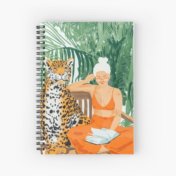 Jungle Vacay, Tropical Nature Painting, Woman & Wildlife, Tiger Cheetah Palms Illustration, Wild Cat Blonde Fashion Spiral Notebook