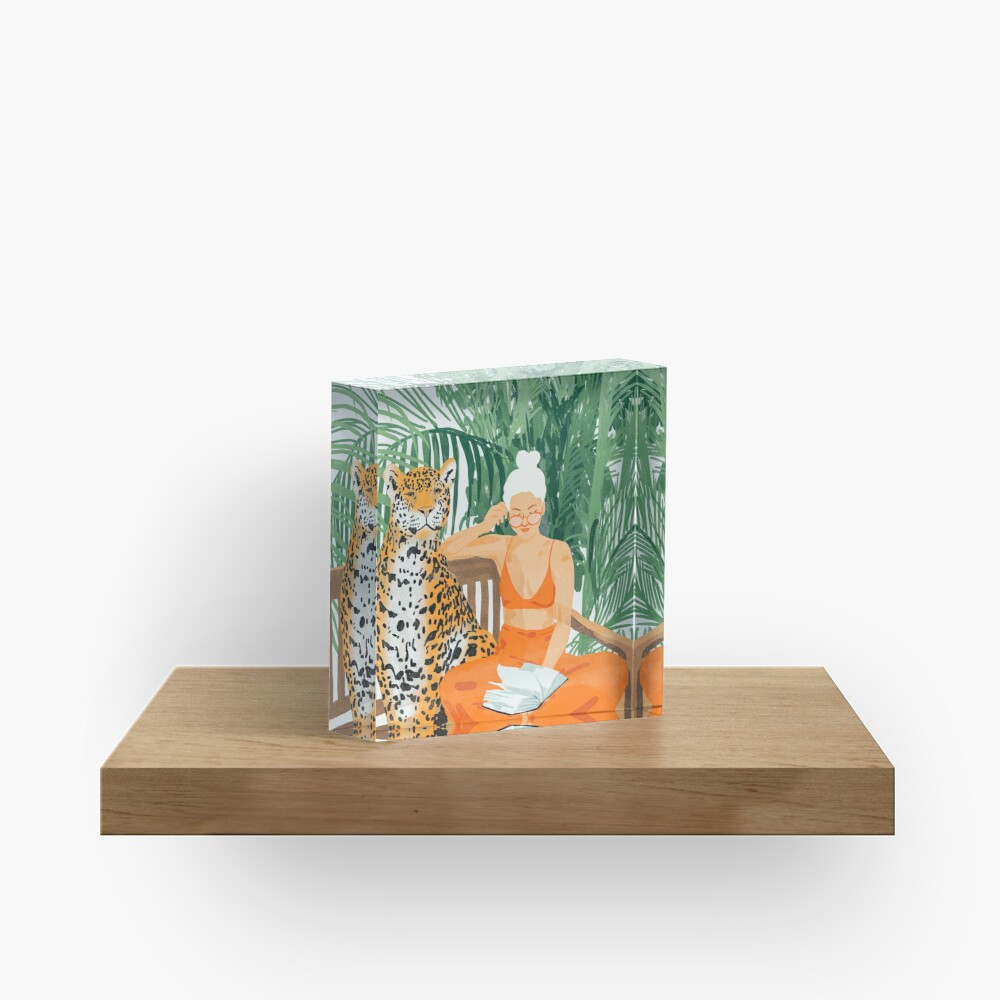 Jungle Vacay II #painting #illustration Acrylic Block