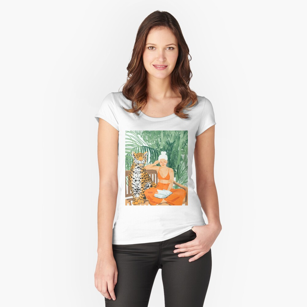 Jungle Vacay II #painting #illustration Fitted Scoop T-Shirt