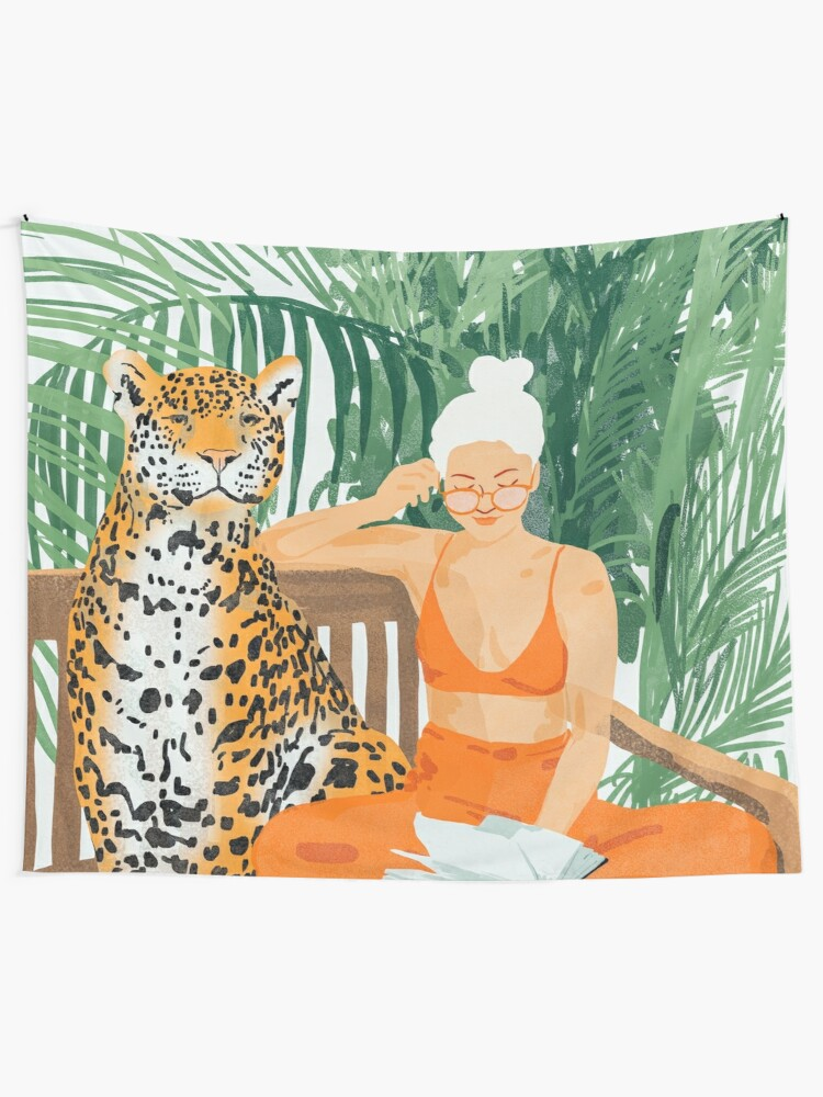 Alternate view of Jungle Vacay II #painting #illustration Wall Tapestry