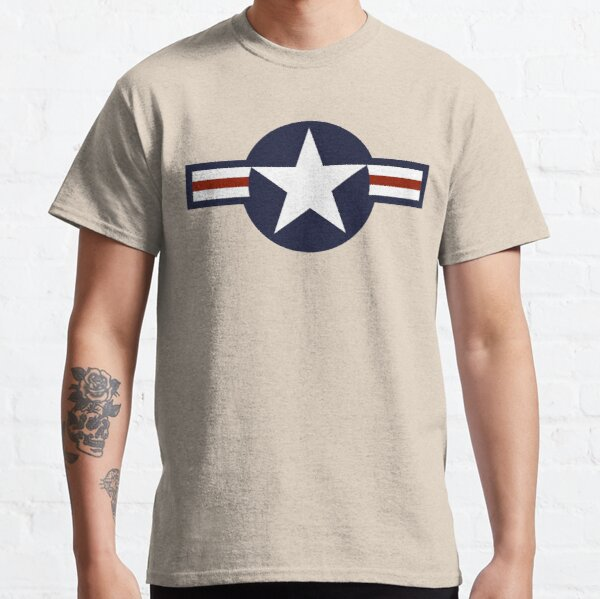 AIR FORCE. AMERICAN, USAF, Roundel, United States Air Force, aircraft, United States Navy, United States Marine Corps, on Grey. Classic T-Shirt