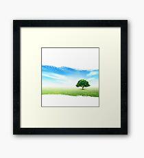 Summer, Field, Sky, Tree, Grass, Flowers Framed Print