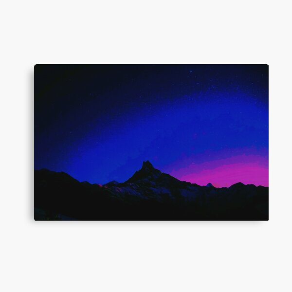 Summit Sundown | Vaporwave-Themed Digital Painting Canvas Print