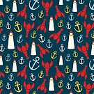 Lobsters and Lighthouses Nautical Ditsy by carabara