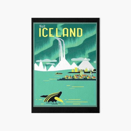 ICELAND : Vintage Travel and Tourism Advertising Print Art Board Print