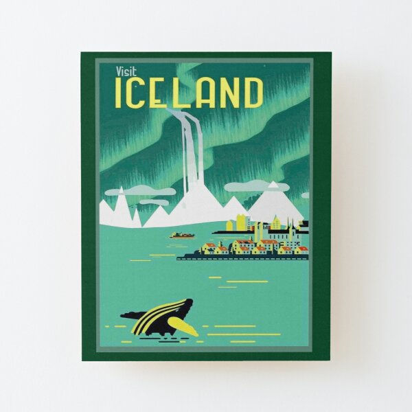 ICELAND : Vintage Travel and Tourism Advertising Print Wood Mounted Print