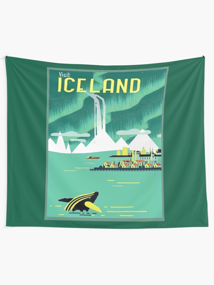 Alternate view of ICELAND : Vintage Travel and Tourism Advertising Print Tapestry