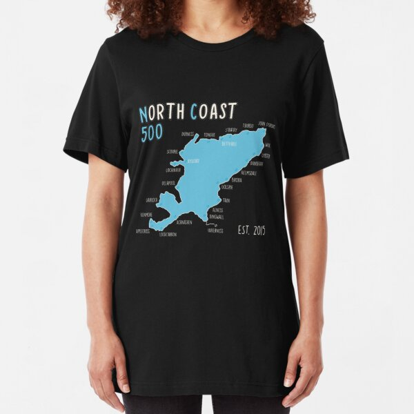 NC500, North Coast 500 Scotland Route Map -  Slim Fit T-Shirt