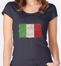 Italy Flag - Vintage Look Women's Fitted Scoop T-Shirt
