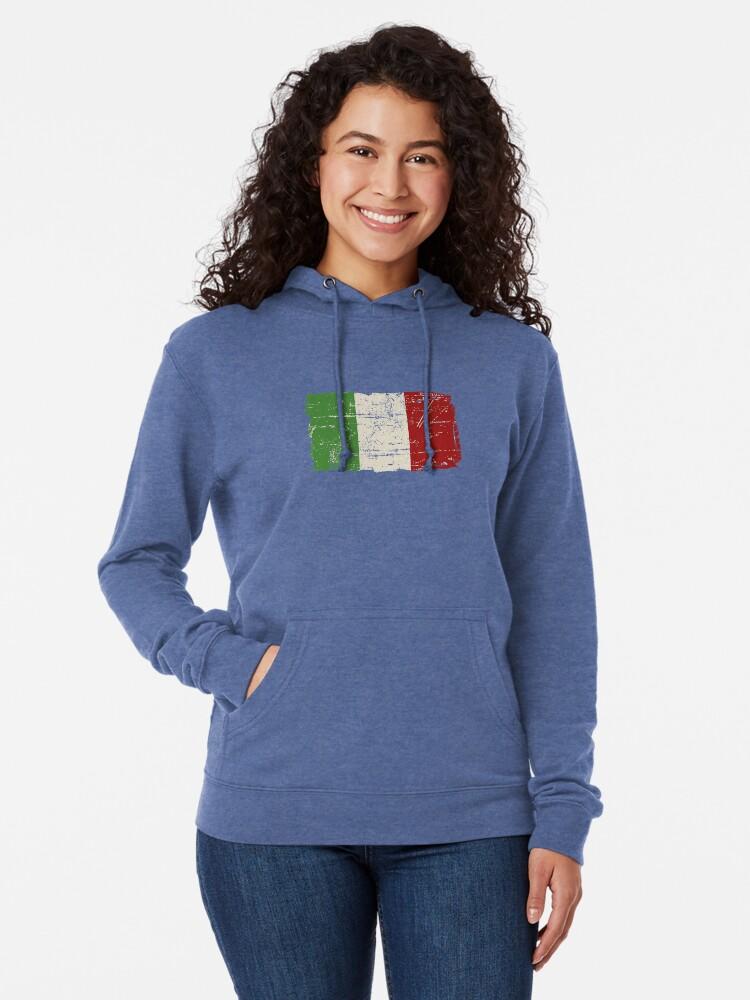 Vista alternativa de Sudadera ligera con capucha Bandera de Italia - apariencia vintage