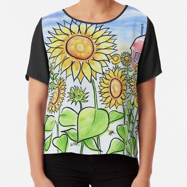 Sunflower Dreams - Field of Summer Sunflowers Chiffon Top
