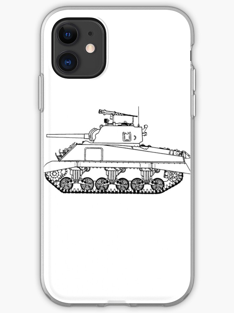 WW2 Sherman Tank - Line Drawing | iPhone Case & Cover