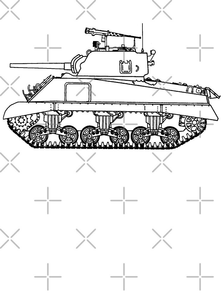 Ww2 Sherman Tank Line Drawing Baby T Shirt