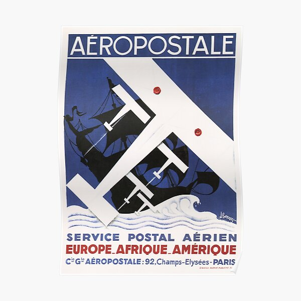 AEROPOSTALE Europe Africa America Postal Service Vintage French Art Deco Poster