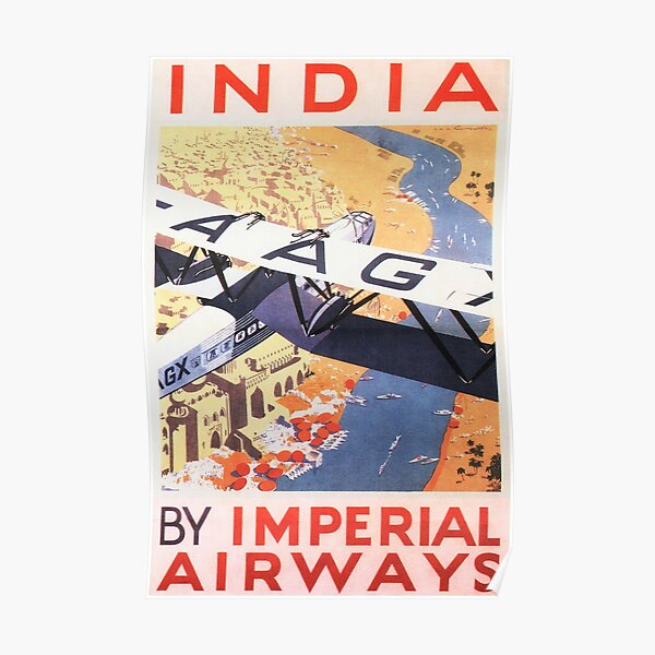 Air India Vintage Airline Advert Print Colourful Photo Retro Poster Planes