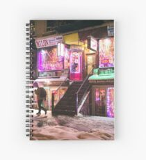 Cuaderno de espiral East Village - Colorful Lights in the Snow - New York City