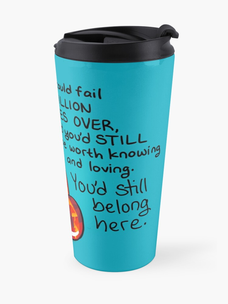 """Alternate view of """"You could fail A MILLION TIMES"""" Ruby Red Panda Travel Mug"""
