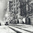 New York on a Winter Night in the Snow by Vivienne Gucwa