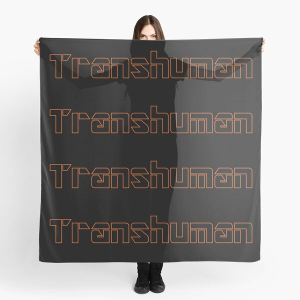 Transhuman Orange Outline on Black Background Scarf