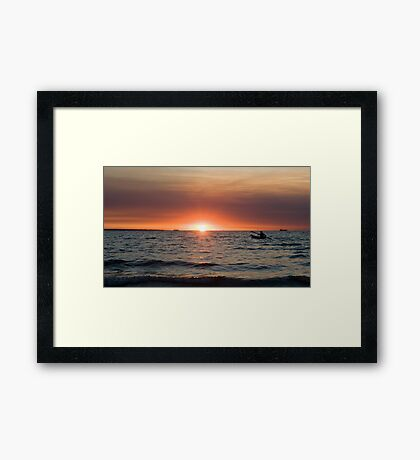 Sunset paddler - Darwin harbour Framed Print