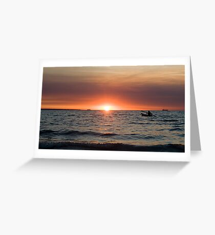 Sunset paddler - Darwin harbour Greeting Card