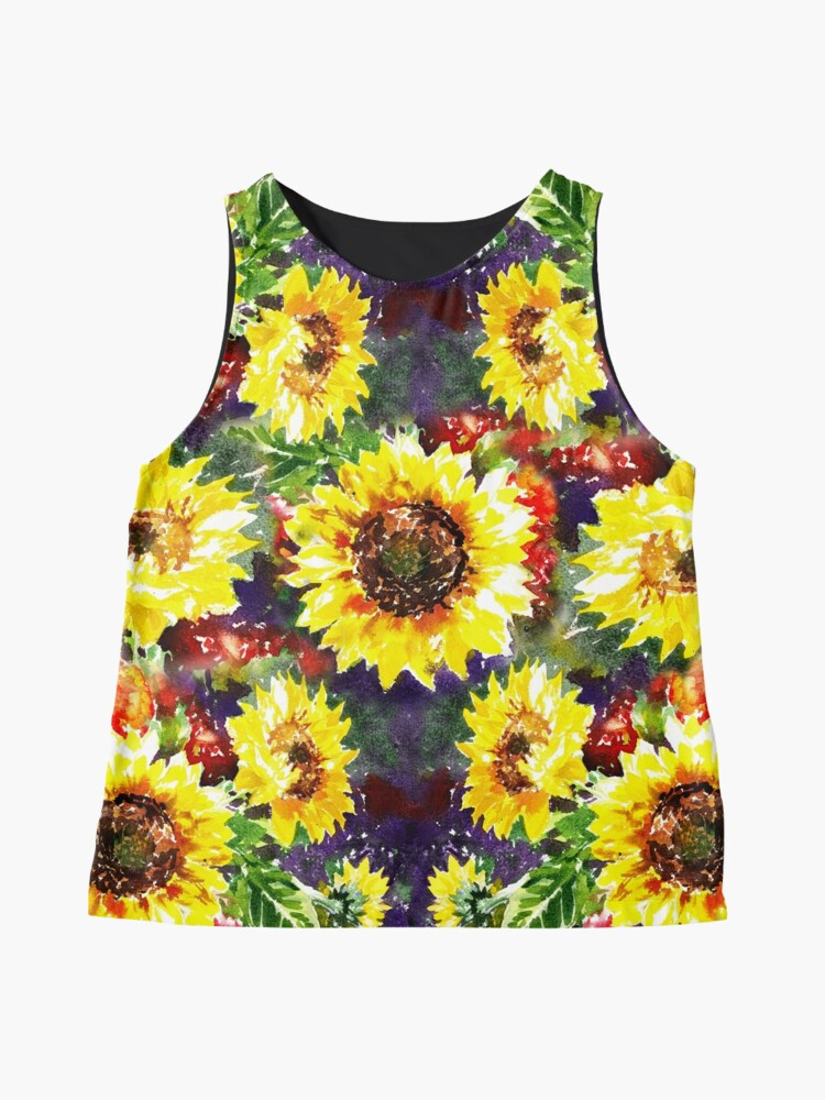 Alternate view of Impressionistic Sunflowers Pattern Sleeveless Top