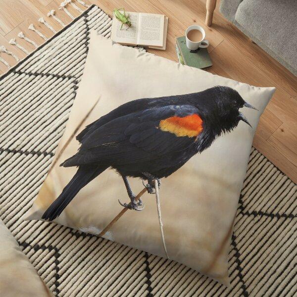 Red Winged Blackbird Floor Pillow