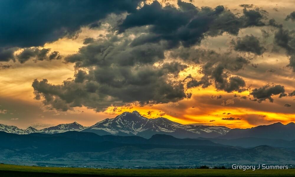Cloud Kisses Longs Peak by Gregory J Summers