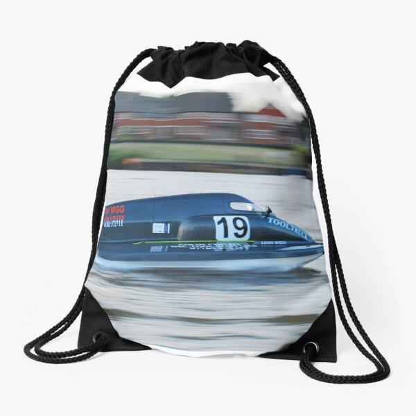 Powerboat Racing at Oulton Broad - Formula 2 Sportsboats - Carl Wigg Drawstring Bag