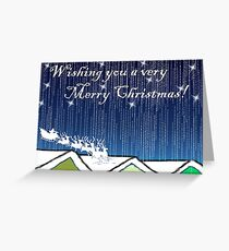 Christmas Card of santa on the rooftops Greeting Card