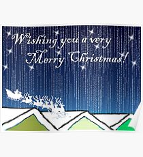 Christmas Card of santa on the rooftops Poster
