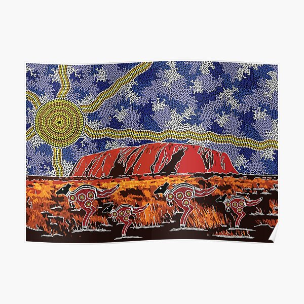 Authentic Aboriginal Art - Uluru Sky Poster