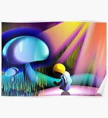 Man sheltering under a mushroom Poster