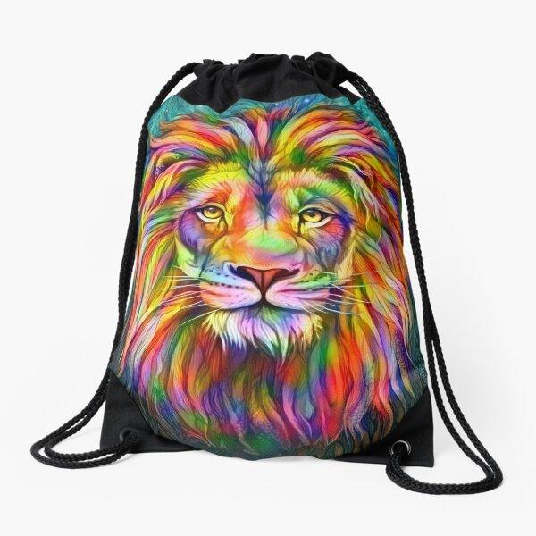 Rainbow lion Drawstring Bag