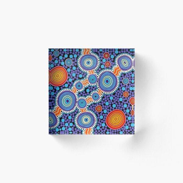 Authentic Aboriginal Art - The Journey Blue Acrylic Block