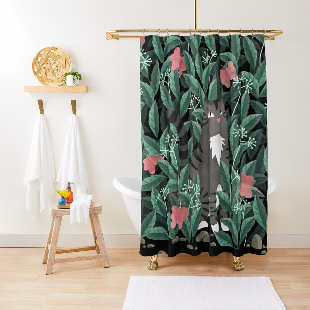 Butterfly Garden (Tabby Cat Version) Shower Curtain