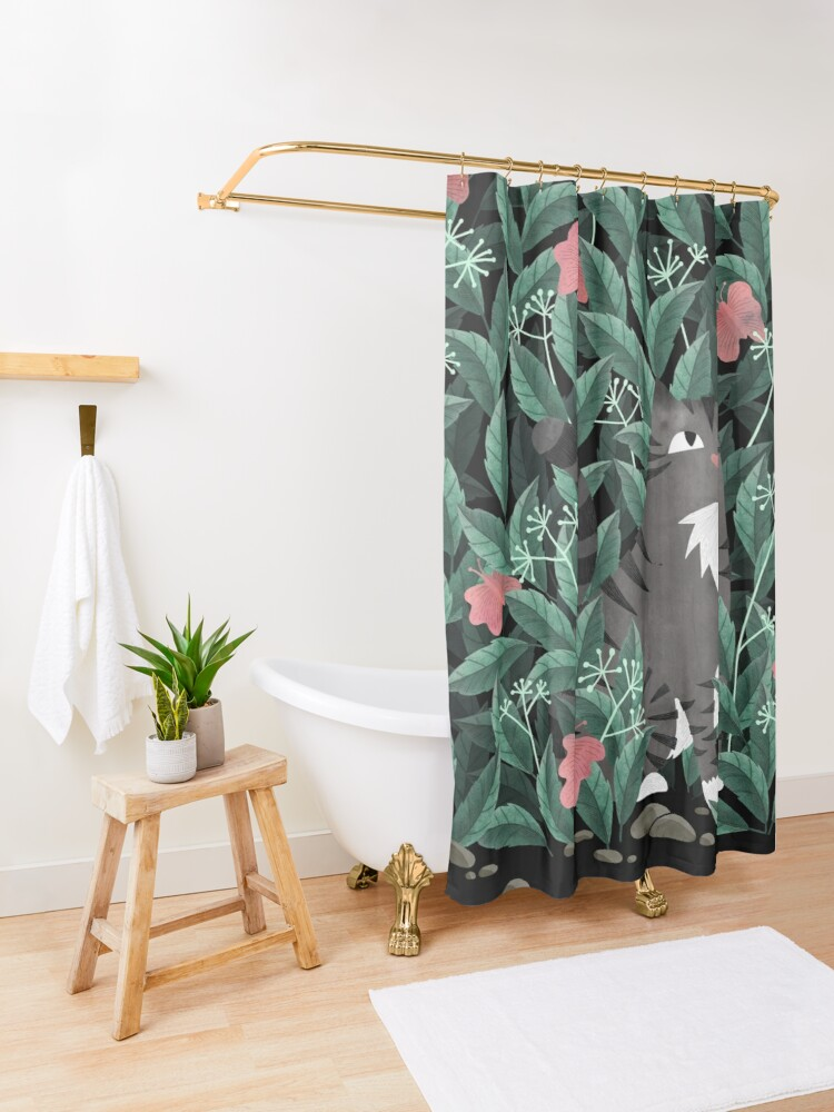 Alternate view of Butterfly Garden (Tabby Cat Version) Shower Curtain