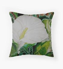 Calla Lily with Frog Throw Pillow