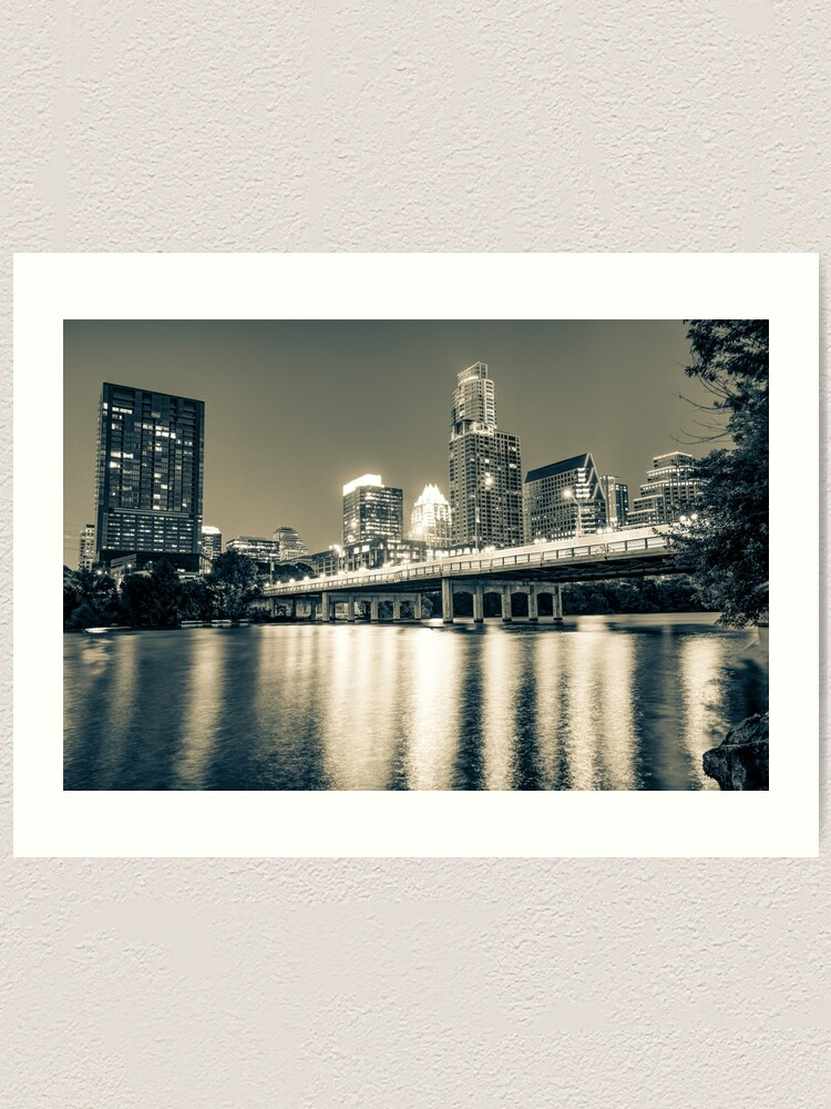 Alternate view of Austin Texas Skyline Over Lady Bird Lake - Sepia Edition Art Print