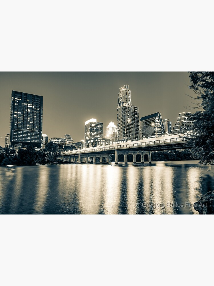 Austin Texas Skyline Over Lady Bird Lake - Sepia Edition by enjoysshooting