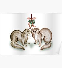 A Ferrety Kiss - Christmas Cards Poster