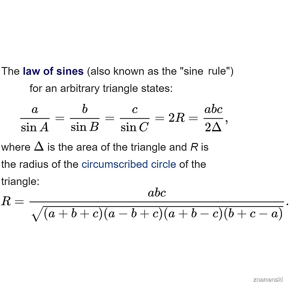 Law of Sines, Sine Rule, arbitrary triangle, sin, area, circumscribed, circle, by znamenski