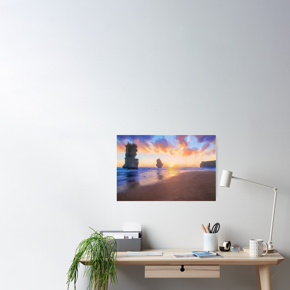 12 Apostles with Marshmallow Skies  (digital painting) Poster