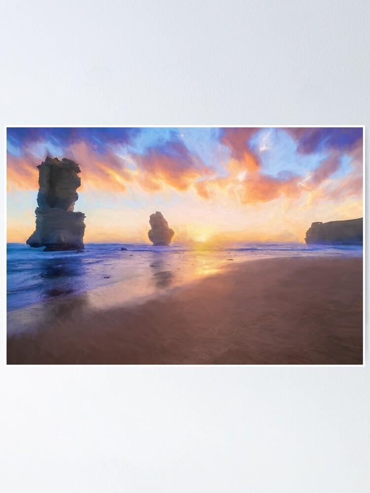 Alternate view of 12 Apostles with Marshmallow Skies  (digital painting) Poster