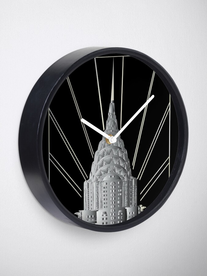 Alternate view of Chrysler Building Art Deco Silver Crown Clock