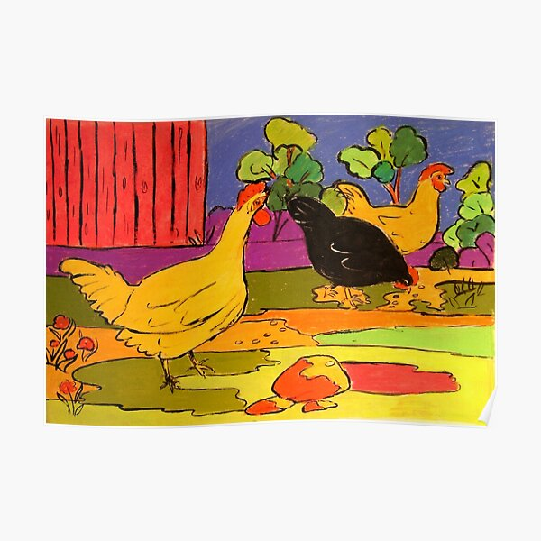 Barbara's Chooks Pastel on Paper  Poster