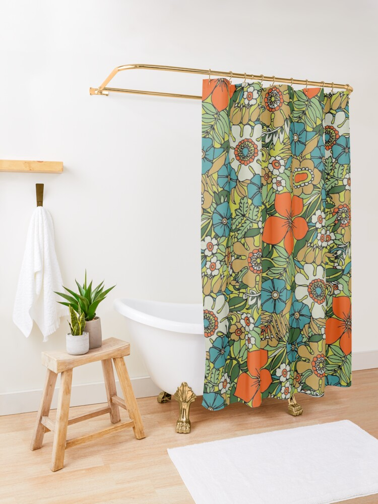 Alternate view of 70s Plate Shower Curtain