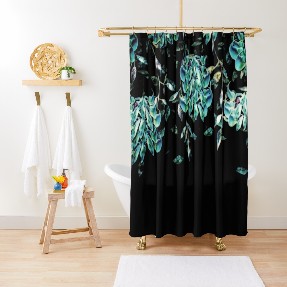 Jade Vine Black and Teal Tropical Floral Print Shower Curtain